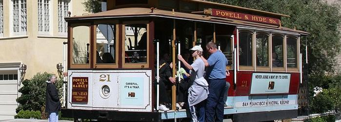 San Francisco Taking a ride on hilly San Francisco's iconic cable cars is almost like being in an amusement park.